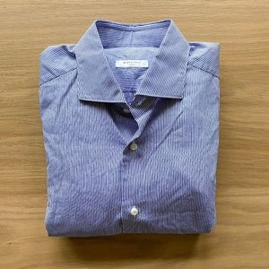 BOGLIOLI Striped Cotton Spread Collar Dress Shirt